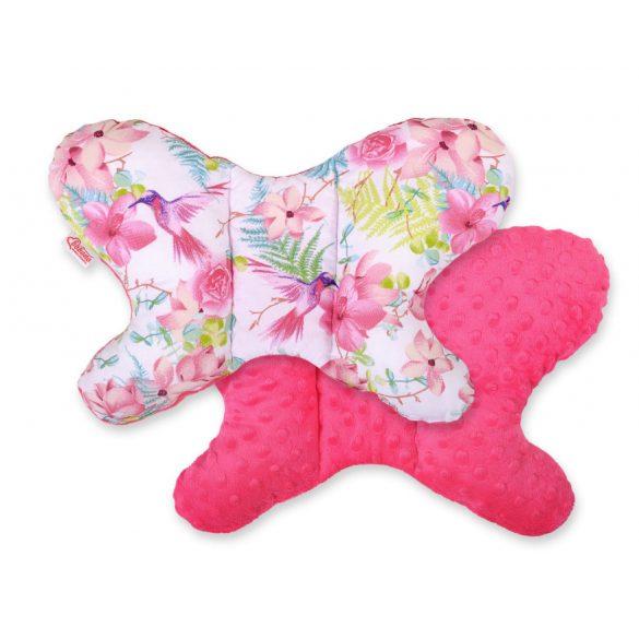 BabyLion Prémium Minky pillangó párna - Rózsaszín virágok és kolibrik