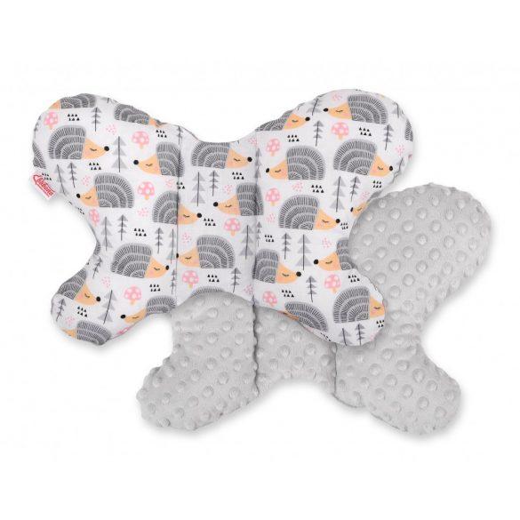 BabyLion Prémium Minky pillangó párna - Sünik - Szürke