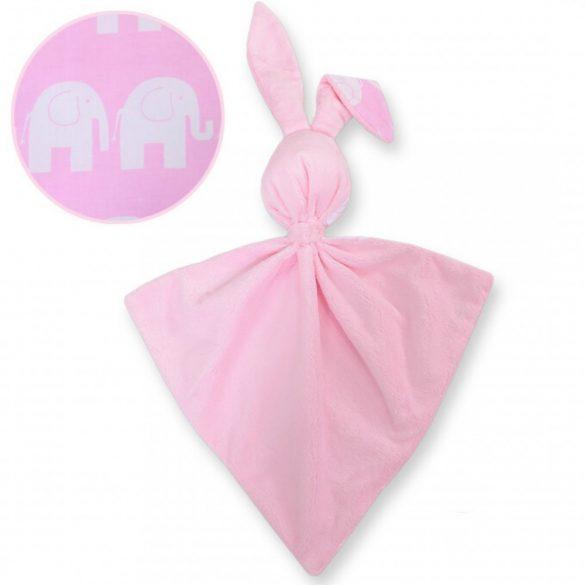 BabyLion Prémium nyuszis szundikendő - Rózsaszín elefántok