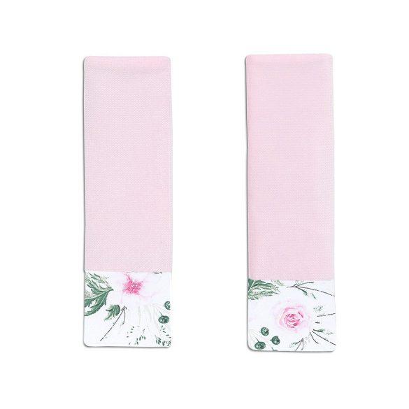 MTT Biztonsági öv védő - Rózsaszín - Rózsaszín virágok zöld levelekkel