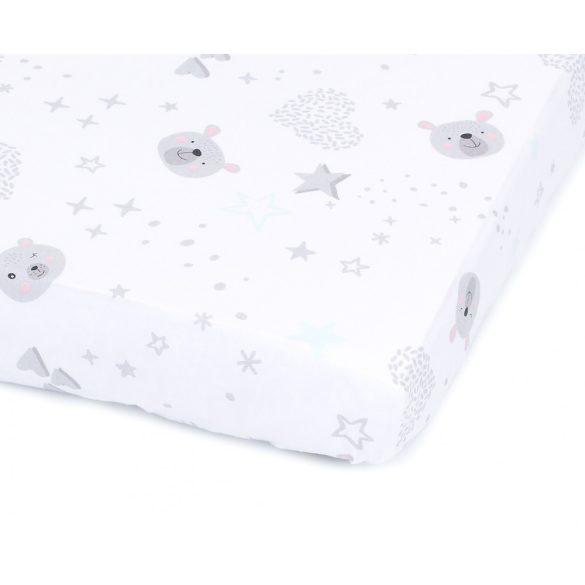MTT Gumis lepedő 60x120 - Fehér alapon szürke macik