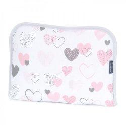 MTT Hordozható pelenkázó lap - Fehér alapon rózsaszín szívecskék