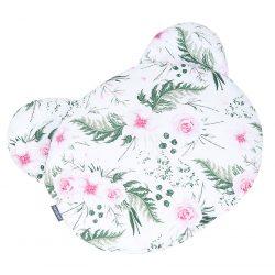MTT Mackó párna - Fehér alapon rózsaszín virágok