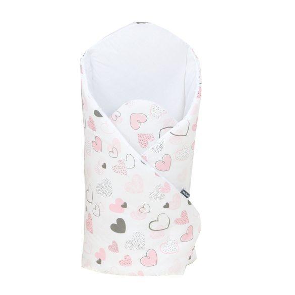 MTT Merevített pólya - Fehér alapon rózsaszín szívecskék