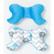 MTT Pillangó párna - Kék ernyős elefántok - kék Minky háttal