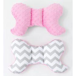 MTT Pillangó párna - Szürke-Fehér cikk-cakk rózsaszín Minky háttal !! KIFUTÓ !!