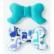 MTT Pillangó párna - Fehér alapon kék dínók - türkiz Minky háttal