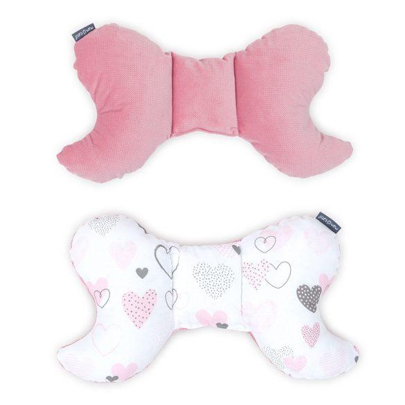 MTT Pillangó párna - Fehér alapon rózsaszín szívecskék - Rózsaszín háttal