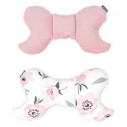 MTT Pillangó párna - Fehér alapon rózsaszín virágok - Rózsaszín háttal