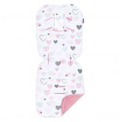 MTT Babakocsi betét - Fehér alapon rózsaszín szívek - Rózsaszín háttal