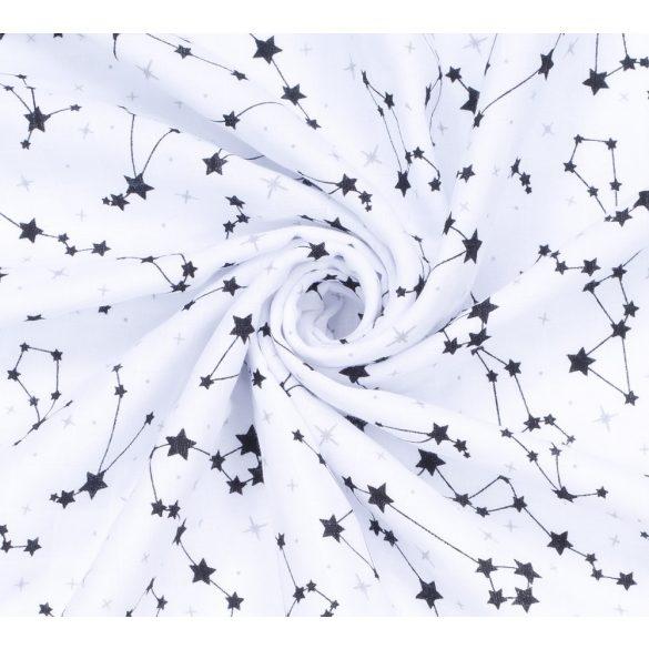 MTT Textil takaró - Fehér alapon fekete csillagképek