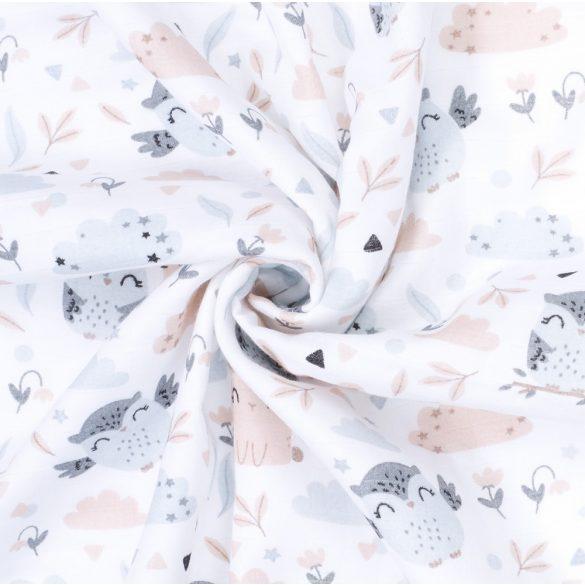 MTT Textil takaró - Fehér alapon bagoly és nyuszi
