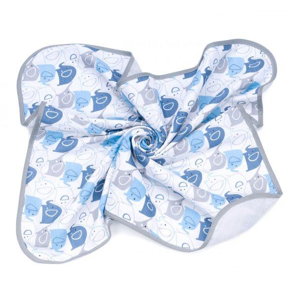 MTT Textil takaró - Fehér alapon Kék elefántok