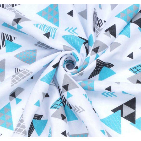 MTT Textil takaró - Fehér alapon Kék háromszögek