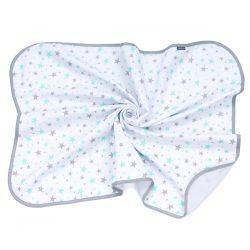 MTT Textil takaró - Fehér alapon kék-szürke csillagok