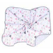 MTT Textil takaró - Fehér alapon rózsaszín szívecskék