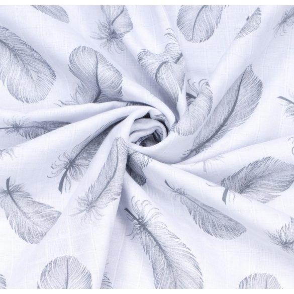 MTT Textil takaró - Fehér alapon szürke tollak