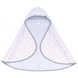 MTT Kapucnis fürdőlepedő - Fehér alapon rózsaszín szívecskék