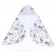 MTT Kapucnis fürdőlepedő - Fehér alapon rózsaszín virágok