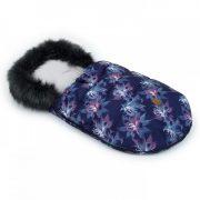 MTT LUX Bundazsák - Kék és lila virágok - fekete szőrmével