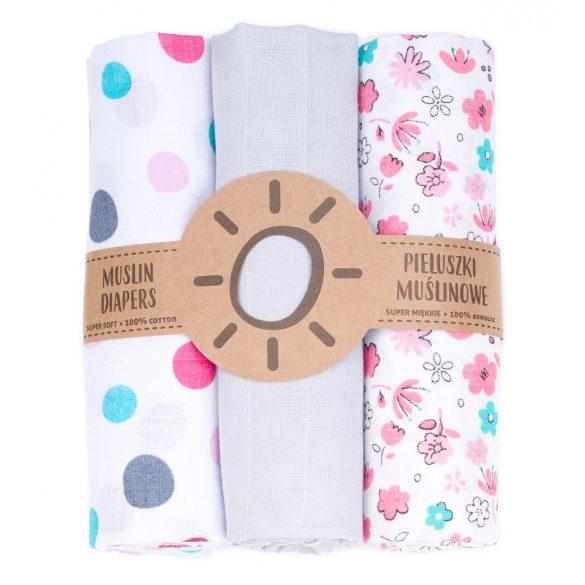 MTT Textil pelenka 3 db + Mosdatókesztyű - Fehér - Színes pöttyök
