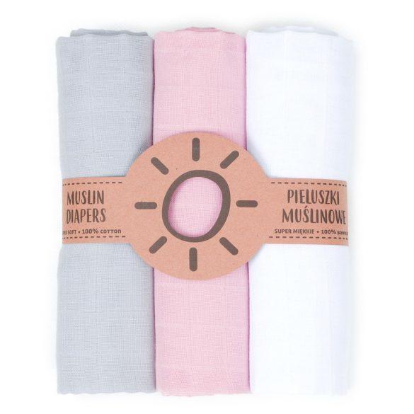 MTT Textil pelenka 3 db + Mosdatókesztyű - Fehér-Szürke-Rózsaszín
