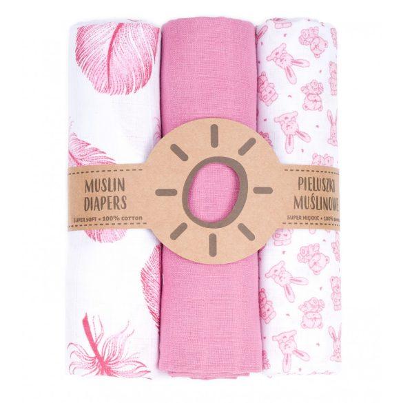 MTT Textil pelenka 3 db + Mosdatókesztyű - Rózsaszín-Fehér - Tollak és nyuszik