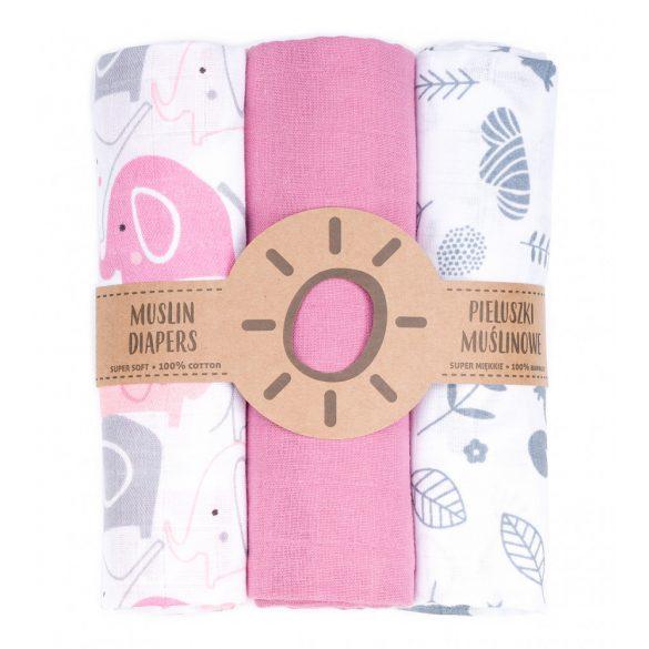 MTT Textil pelenka 3 db + Mosdatókesztyű - Rózsaszín fehér elefánt