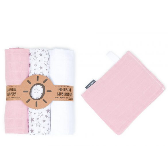 MTT Textil pelenka 3 db + Mosdatókesztyű - Rózsaszín - fehér - fehér szürke csillagok