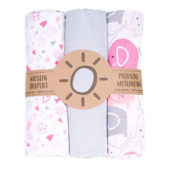 MTT Textil pelenka 3 db + Mosdatókesztyű - Fehér rózsaszín szívek