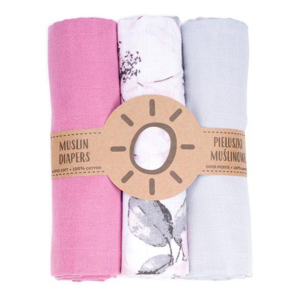 MTT Textil pelenka 3 db + Mosdatókesztyű - Szürke-Rózsaszín-minták