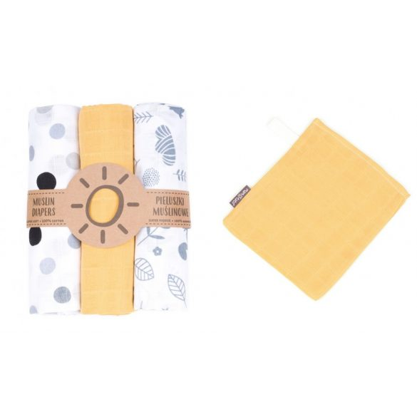 MTT Textil pelenka 3 db + Mosdatókesztyű - Sárga-Fehér - Szürke pöttyök