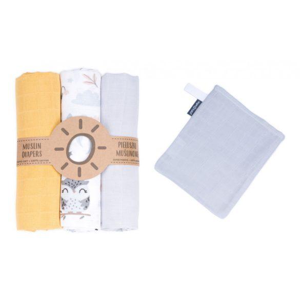MTT Textil pelenka 3 db + Mosdatókesztyű - Sárga Fehér bagoly