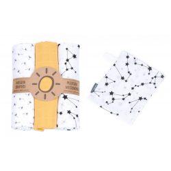 MTT Textil pelenka 3 db + Mosdatókesztyű - Sárga-Fehér csillagos