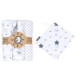 MTT Textil pelenka 3 db + Mosdatókesztyű - Fehér-Szürke - Levelek-Pöttyök-Csillagok