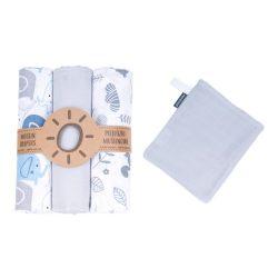 MTT Textil pelenka 3 db + Mosdatókesztyű - Szürke-Fehér - Kék elefántok