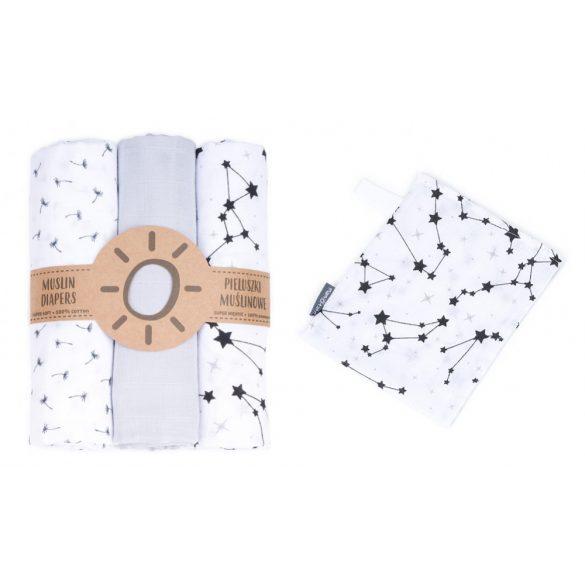 MTT Textil pelenka 3 db + Mosdatókesztyű - Szürke-Fehér - Csillagok és virágok