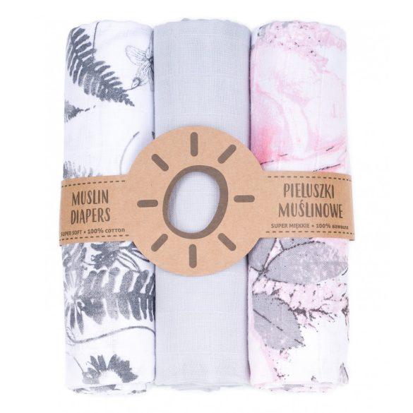 MTT Textil pelenka 3 db + Mosdatókesztyű - Szürke fehér levelek