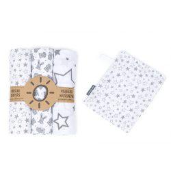 MTT Textil pelenka 3 db + Mosdatókesztyű - Fehér-Szürke - Csillagok és Nyuszik