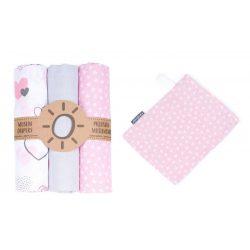 MTT Textil pelenka 3 db + Mosdatókesztyű - Szürke-Rózsaszín - Szívecskék