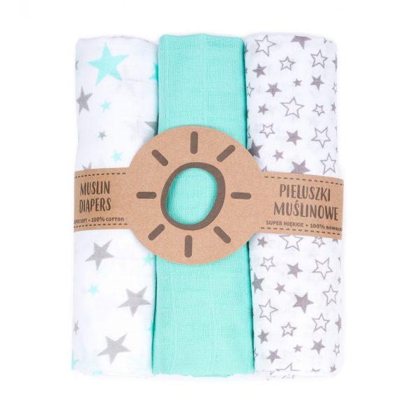 MTT Textil pelenka 3 db + Mosdatókesztyű - Türkiz-Fehér - csillagok
