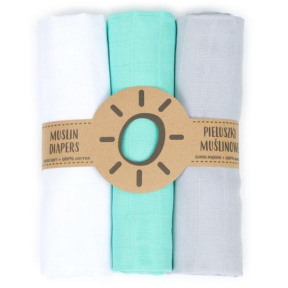 MTT Textil pelenka 3 db + Mosdatókesztyű - Türkiz-Fehér-Szürke