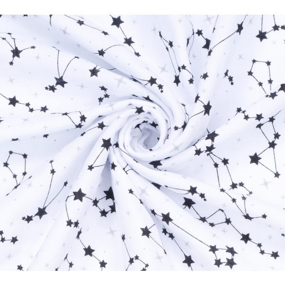 MTT Kis textil pelenka  3 db - Fehér alapon fekete csillagképek