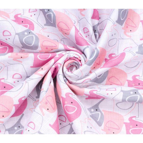 MTT Kis textil pelenka  3 db - Fehér alapon rózsaszín elefántok