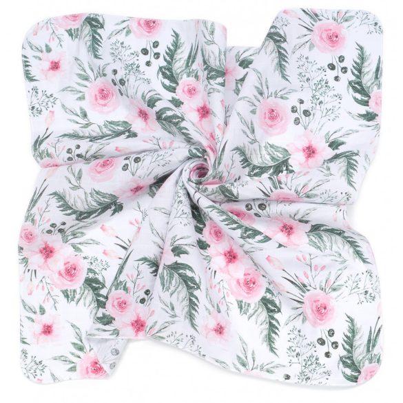MTT Kis textil pelenka  3 db - Fehér alapon rózsaszín virágok