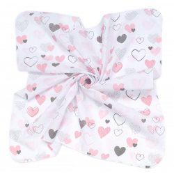 MTT Kis textil pelenka  3 db - Fehér alapon rózsaszín szívecskék