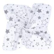 MTT Kis textil pelenka  3 db - Fehér alapon szürke nagy csillagok