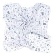 MTT Kis textil pelenka  3 db - Fehér alapon szürke levél minták