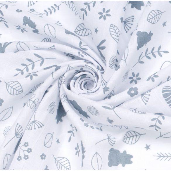 MTT Kis textil pelenka  3 db - Fehér alapon szürke állatkák