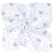 MTT Kis textil pelenka  3 db - Fehér alapon szürke pitypangok
